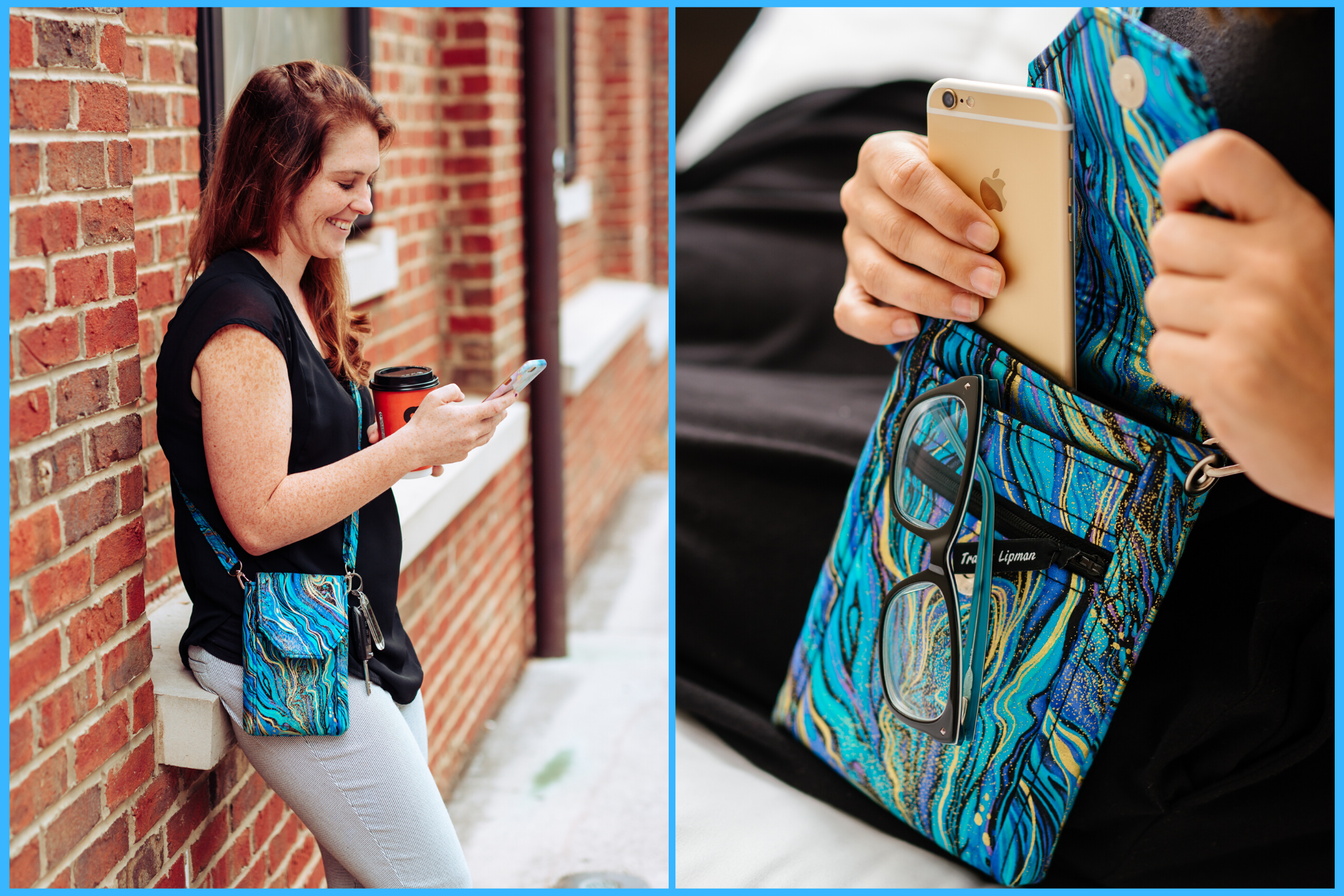 Blue crossbody phone bag - phone pouch