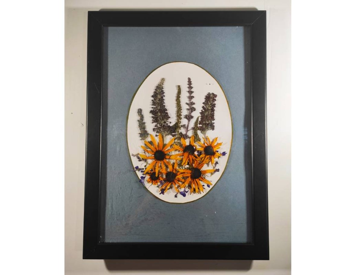 Boho wall hanging for living room,  yellow pressed flowers on vintage blue
