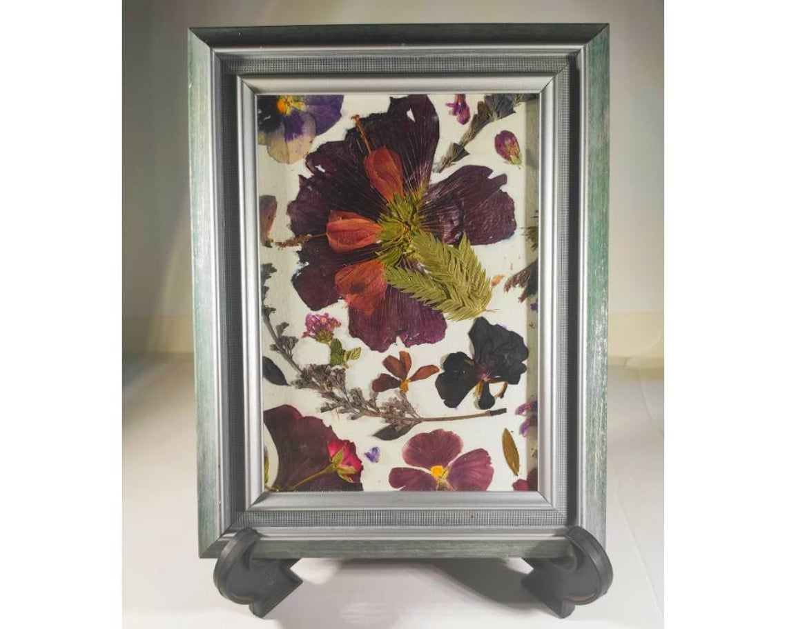 Rainbow flower wall art from real pressed flowers