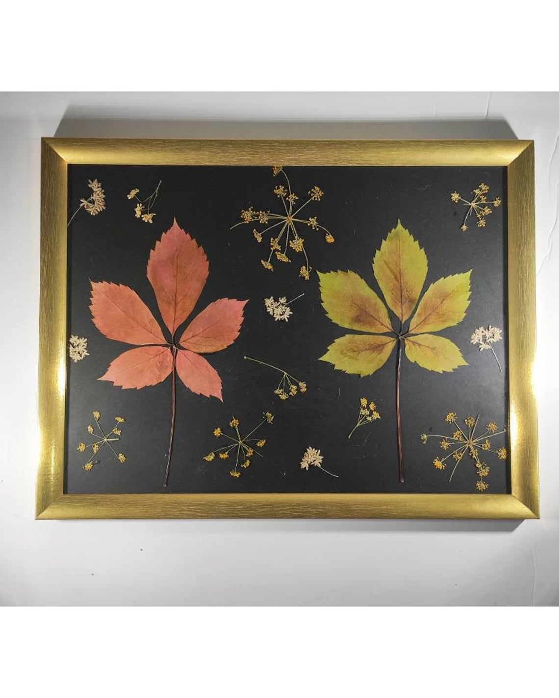 Romantic floral wall art, large pressed leaves fall bouquet in a gold frame